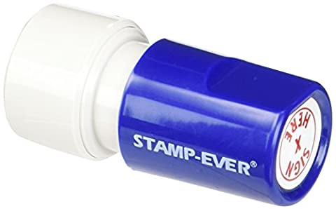 Stamp-Ever Pre-Inked Round Message Stamp, Sign Here, Stamp Impression Size: 3/4-Inch Diameter, Red