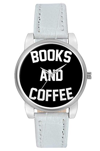 Women's Watch, BigOwl Books And Coffee Typography Designer Analog Wrist Watch For Women - Gifts for her dials
