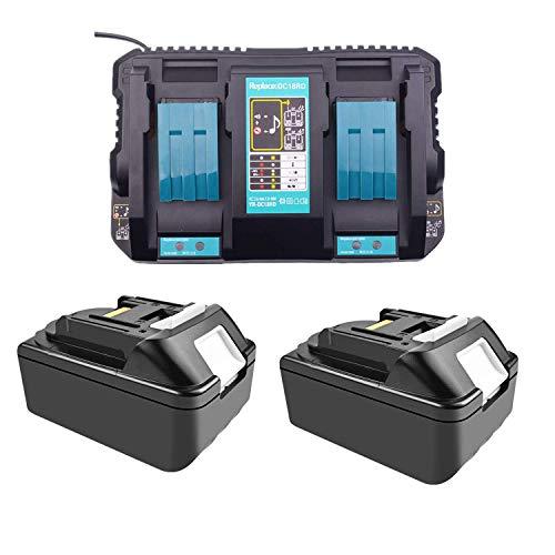 Ersatz 4A Doppel-Ladegerät mit 2X Akku 18V 5.0Ah für Makita Kettensäge DUC353Z DUC302Z Rasenmäher DLM380Z DLM431Z Heckenschere DUH523Z Rasentrimmer DUR181Z Elektro-Kettensäge UC4051AK batterie