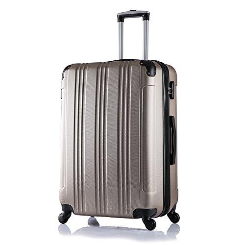 EUGAD #375 Reisekoffer Hartschale Koffer Trolley mit erweiterbare Volumen , Reise Koffer Trolley 4 Rollen , Hartschalenkoffer M/L/XL/Set , leicht & günstig , Champagne (XL, 76 cm & 110 Liter)