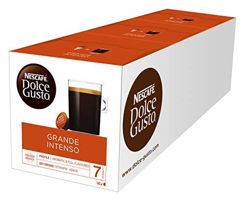 NESCAFÉ Dolce Gusto Grande Intenso | 48 Kaffeekapseln | Arabica Bohnen aus Ostafrika und Südamerika  | Haselnussbraune Crema | Aromaversiegelte Kapseln | 3er Pack (3 x 16 Kapseln) Grand Becher