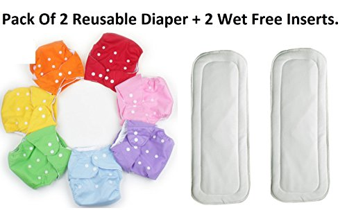 HOME CUBE® Adjustable Reusable Baby Washable Cloth Diaper Nappies With Wet-free inserts For Babies of Ages 0 to 2 years. - Pack of 2 Pcs. Color May Vary.