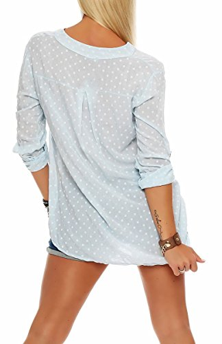malito Damen Bluse mit Punkten | Tunika mit ¾ Armen | Blusenshirt auch langarm tragbar | Elegant �?Shirt 3419 Hellblau