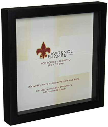 Lawrence Frames 795088 Black Wood Treasure Box Shadow Box Picture Frame, 8 by 8-Inch -