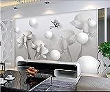 Wxlsl Ursprüngliche Graue Weiße Kreative Blumen 3D Tapete Fernsehhintergrundwand-300Cmx210Cm