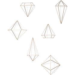 Umbra Prisma Geometrische Wanddekoration – Deko zum Aufhängen an Wand und Decke oder als Tischdekoration Verwendbar, Set mit 6 Prisma Hälften, Metall/Kupfer