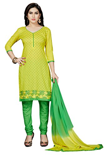 Rani Saahiba Embroidered Cotton Dress Material( DSK295_Yellow and Green)