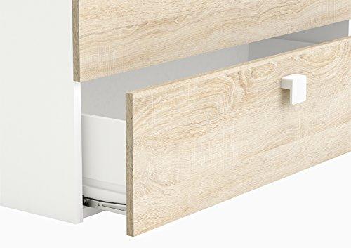 """Demeyere Kombi-Bett mit Schreibtisch \""""move\"""", 90 x 200 cm, Spanplatte, sonoma eiche/weiß, 204,3 x 140 x 96 cm"""