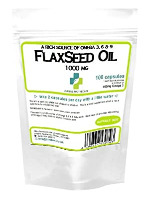 Flaxseed Oil 1000mg /100 Capsules by Lindens Apothecary