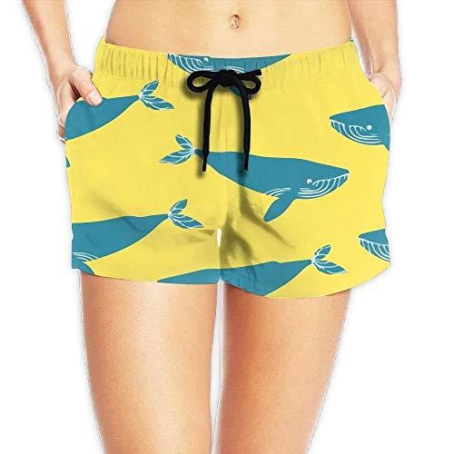 Chic Animal Blue Whale Women Quickly Drying Beach Waist Elastic Shorts Swim Trunk Boardshorts Swimwear Pocket Medium -