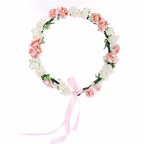 Cereoth Crown Blume Kranz Kranz Kranz für Feste Touched Hochzeit Weiß Rosa (Haar-accessoires Seidenblumen)