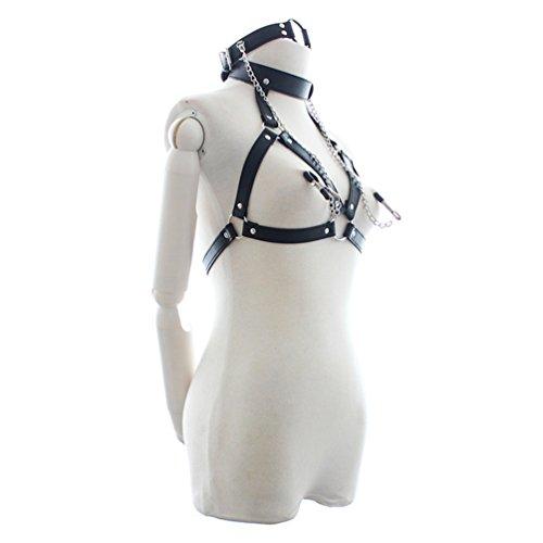 SM Bondage Set, Fesselset Erwachsene Slave Büstenhalter mit Nippelklemme - Body Restraint Unterwäsche Sex Spielzeug für Paare (Queen Schwarze Leder-bett)