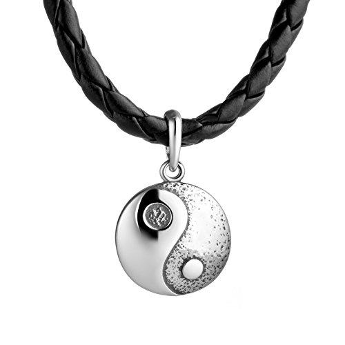STERLL Herren Hals-Kette Leder Schwarz Yin-Yang tai Chi-Anhänger Silber 925 Schmuck-Beutel Besondere Geschenke für Männer