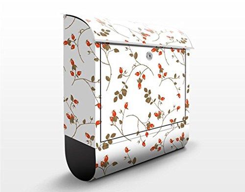 Design Briefkasten Hagebutten Ornament | Motiv Herbst Alpin Landhaus, Postkasten mit Zeitungsrolle, Wandbriefkasten, Mailbox, Letterbox, Briefkastenanlage, Dekorfolie