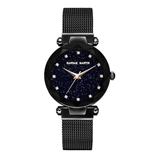 Damen Uhren, L'ananas Frauen Mode Sternenklarer Himmel Dial Diamant schneiden Freie Größe Maschengurte Armband Armbanduhr Women Watches Bracelet (Schwarz)