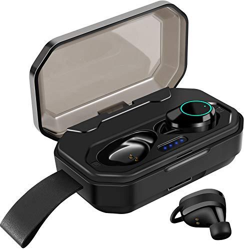 ZOVER Écouteurs Bluetooth 5.0 Oreillette sans Fil, 3000mAh Etui de Charge Autonomie Stéréo IPX7 entièrement étanche Réduction du Bruit Casque Mains-Libres Mic Sport pour Gym/Joggin