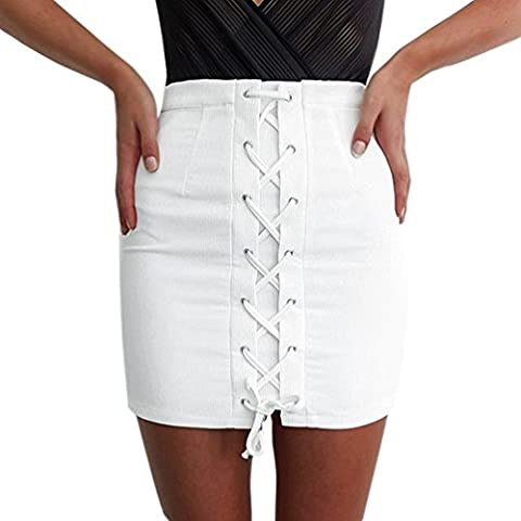 Lychee Gonna Allacciato Lace Up Sottile Sexy mini Gonne skirt Bianco