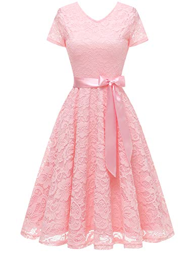 bridesmay Damen 50S Retro Spitzenkleid Kurzarm Elegant Brautjungfernkleid Abendkleider Pink L Formal Dress