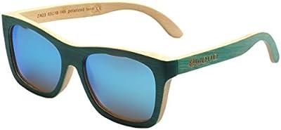 Iwood Unisex Madera Verde Pintura Marco polarizó el Azul de la lente gafas de sol de bambú