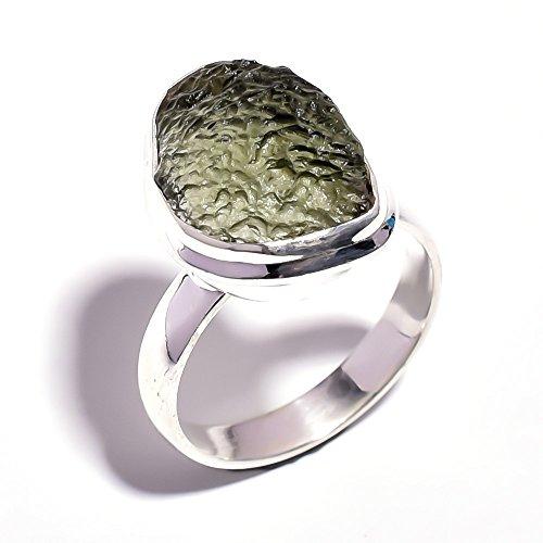 925Sterling Silber Ring Größe O, natur roh Moldavit, Handarbeit Frauen Schmuck rsr1969