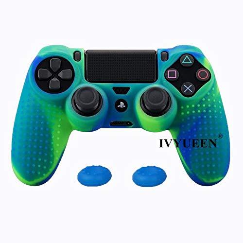 Silikon-Schutzhülle für Playstation Dualshock 4 PS4 DS4 Pro Slim Controller & Stick Grip Grün Blau 2 Stück - Playstation Gehäuse 4