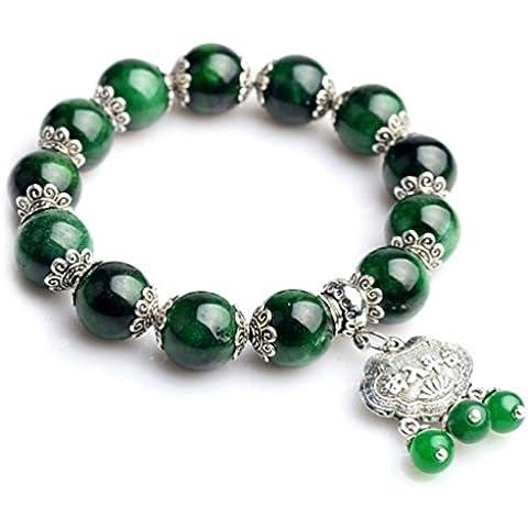 La noche estrellada plata tibetana longevidad bloqueo colgante borlas tallo verde Jade Pulsera de perlas