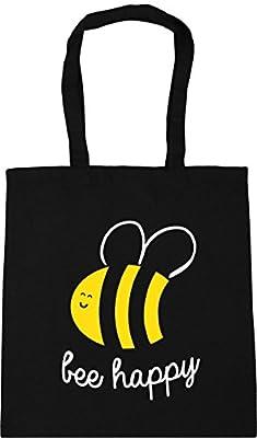HippoWarehouse Bee Happy Tote Shopping Gym Beach Bag 42cm x38cm, 10 litres