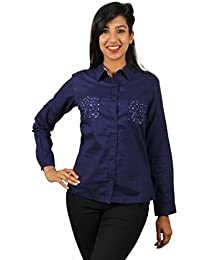 Old Khaki Solid Cotton Casual Partywear Shirt Women's Girls Shirt with Swaroski Stones on The Double Pockets in Navy Blue Color with Contrast & Free Shipping