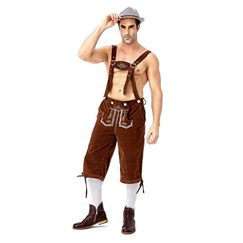 Chejarity Herren Trachtenhose Kniebundhose Trägerhose mit Tasche Halloween Karneval Bayerische Traditionelle Kleidung Bestickt Freizeit Bar Lederhose Oktoberfest Bierfest Kostüm (XL, Braun) (Für Erwachsene Tragen Kostüm Muster)