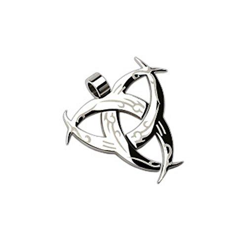 Bungsa Tribal Kettenanhänger Edelstahl Silber Halsketten Pendant (Anhänger Charm Beads Chirurgenstahl Damen Herren Schmuck)