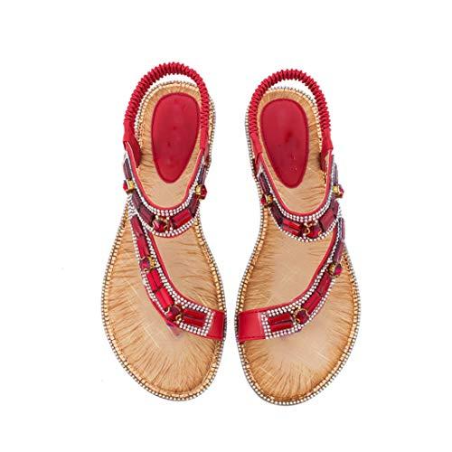 Frauen böhmischen T-Strap Flache Sandalen schräge Band Peek Toe Slip on Gummiband Thong Flip Flops Sommer Strand Schuhe - Freiheit Thong