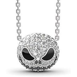 Jeulia Collar de plata de ley con colgante de calavera para mujer, regalo de San Valentín, cumpleaños