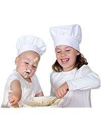 Oyfel gorro de cocinero sombrero de cocinero Patissier ajustable color blanco para adultos Enfants