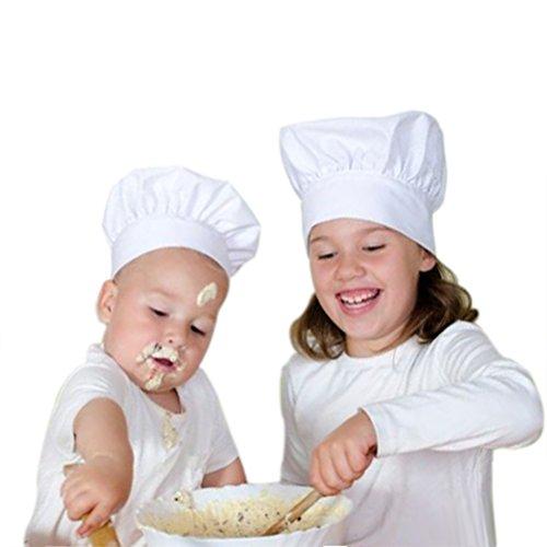 Oyfel - Cappello da Chef o pasticcere regolabile. Colore bianco per adulti e bambini Enfants