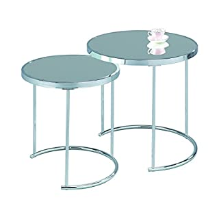 ASPECT Visio Set of 2 Round Nesting Table-Mirrored Top/Chrome Frame, Metal, 50x50x50 cm