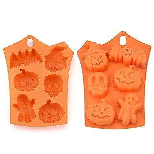 Romantic Halloween Thema 3D Kürbis/Geist/Bat Silikon Backform, Fondant Kuchen Formen, Silikonform für Schokolade Gelee, Süßigkeiten Schimmel, Cupcake DIY Backen Dekoration Werkzeug (23 X 17.5 X 1cm)