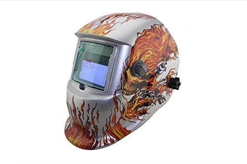 GARY&GHOST Masque de Soudage Énergie Solaire Casque Cagoule de Protection Visage Automatique Recharge Assombrissement Motif Tête Mort pour Soudeur Soudure