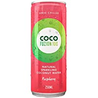 Coco Fuzion 100 Raspberry Flavoured Sparkling Coconut Water, 250 ml (Pack of 12)