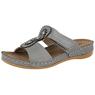 Ladies Gezer Faux Leather Cut Out Summer Slip On Lightweight Low Wedge Mule Sandals Shoe 3-8 (UK 5, Grey)