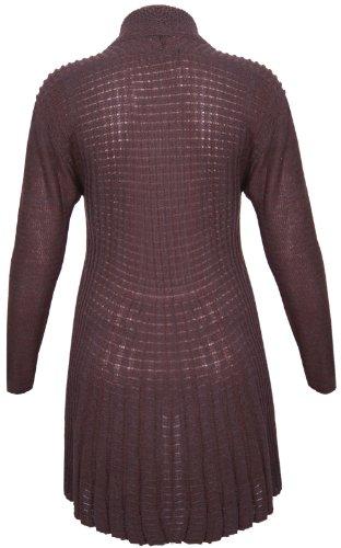 Cardigan maglione aperto da donna manica lunga a cascata modello Boyfriend elasticizzato lavorato a maglia su parte anteriore aperto taglie forti Blu scuro
