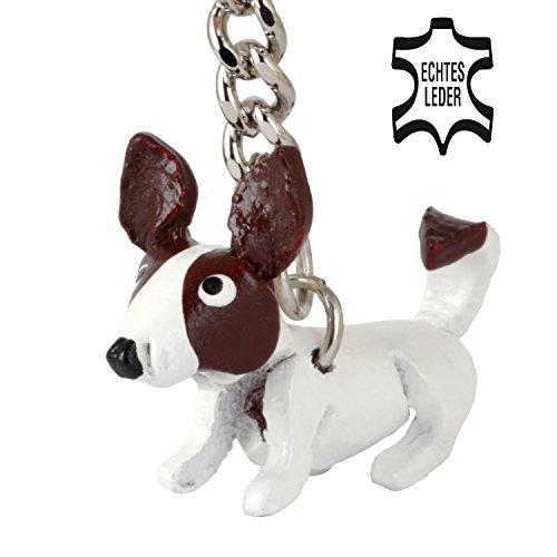 Monkimau Jack Russell Terrier Jacky Hund-e Deko-Figur Schlüssel-anhänger Leder Stofftier Kuscheltier Plueschtier ca. 2cm klein (Weiß mit braunen Kopf klein) -