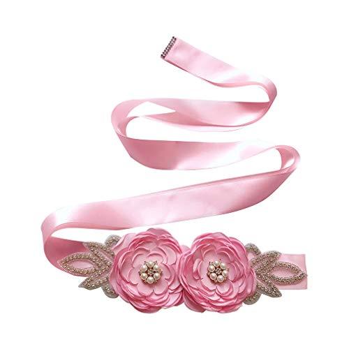 WEIMEITE Elegante handgemachte Satin Blumen Mädchen Perlen Sash Braut Accessoires Gürtel für Hochzeitskleid Schwangere Mutterschaft Fotografie Requisiten -