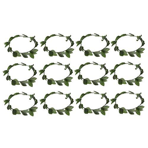 FLAMEER 12 Stücke Kunststoff Grüne Blätter Haarbänder Römische Griechische Göttin Lorbeerkranz Dressing Up Party Stirnband Haarschmuck