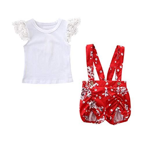 Liusdh Baby-Strampler für Neugeborene, Kleinkinder, Baby-Kostüm, Kleid, T-Shirt mit Spitze und Blumenmuster