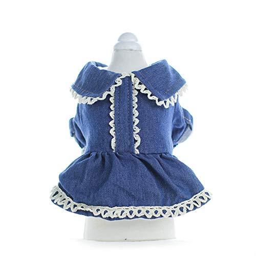 AMDXD Hundekostüm Kleid Baumwolle Hund Kleid Elegant Blau Corduroy Denim Rock Größe M
