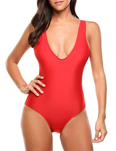 Avidlove Badeanzug Damen Tankini Sexy One piece Bikini Cross-Back Monokini Einteiler Rosa Stil 3: Rot