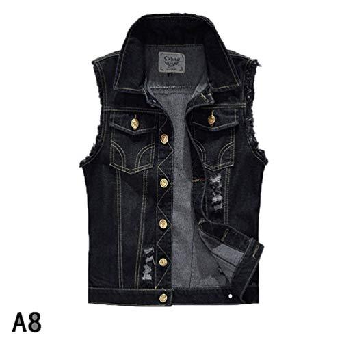 Männer ärmellose Jacke Jeans Vintage Weste Outwear männlich zerrissene Weste Jacke 1 XXXL ()
