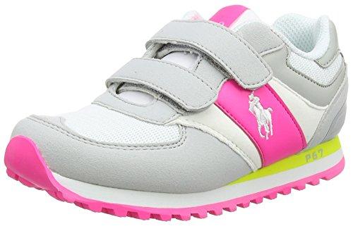 Polo Ralph Lauren Slaton Ez, Baskets Basses mixte enfant Gris - Grau (Grey/white/pink)
