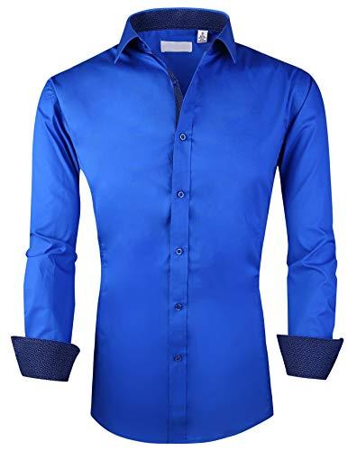 Esabel.C Herren Hemd Langarm Regular Fit Business Casual Button Down Shirts - Blau - X-Groß -