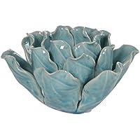 Ausgefallene Moderne Botanischen Blume Tee Licht Kerzenhalter U2013 Keramik  Glasiert Crackle Effekt Teelichthalter Mit Hellblau Aquamarin Finish U2013  Witzige ...